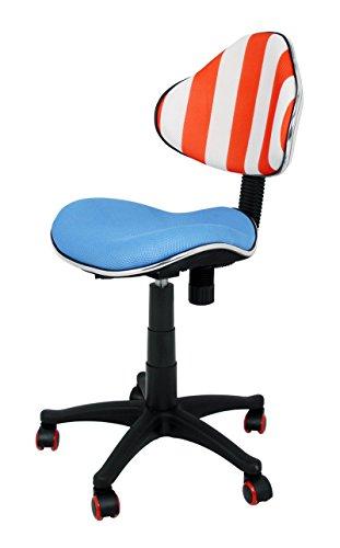 Die spanische Stuhl World Series Studie Jugend-Stuhl mit Rückenlehne, Mikrofaser, Blau, Weiß und Rot, 43x 43x 95cm