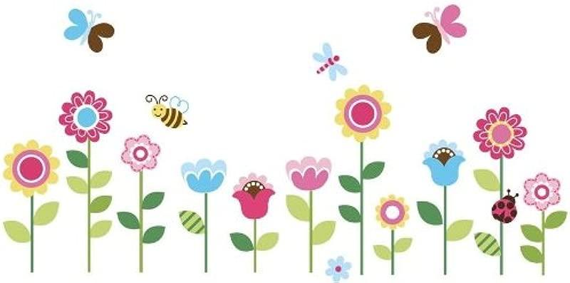 Spring Garden Flower Nursery Decorative Peel And Stick Wall Sticker Decals
