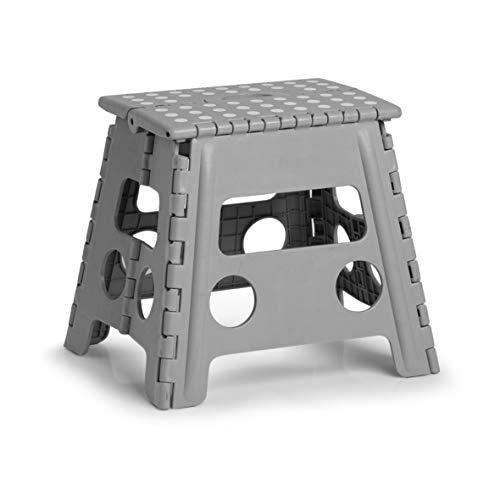 Zeller 13034 PREMIUM Klapphocker faltbar, Kunststoff, grau, TÜV geprüft, belastbar bis 150 kg, ca. 37 x 30 x 32 cm, mittel