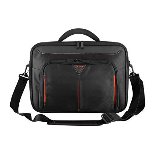 Targus Classic+ Clamshell Case Laptoptasche 14 Zoll, bequeme Umhängetasche mit gepolstertem Griff, Notebooktasche mit Reißverschluss-Arbeitsstation – Schwarz/Rot, CN414EU
