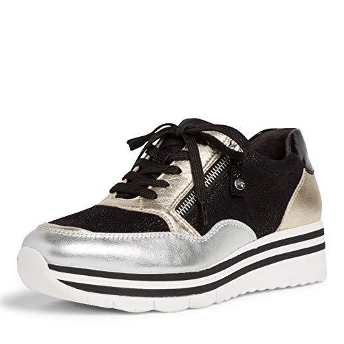 Tamaris Damen Low-Top Sneaker, Frauen Halbschuhe,Halbschuhe,straßenschuhe,Freizeitschuhe,Sneaker,Wedge,Keilabsatz,Heel,Lady,Black Comb,40 EU / 6.5 UK
