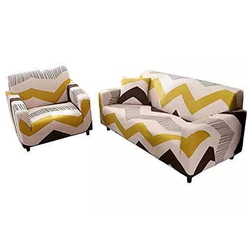 HHuin Funda elástica universal para sofá con protección geométrica, para asientos individuales, dos o tres
