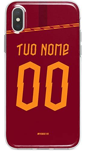 MYCASEFC Custodia AS Roma Cover Personalizzabile in Silicone TPU per Telefono - Scegli Il Tuo Nome e Numero (iPhone XR)