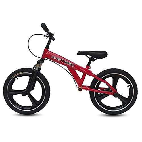Bicicleta de Equilibrio Bycicle Red sin Pedales para niñas/niños Altos/Adultos/mamá, con neumáticos de Goma inflables de 18 Pulgadas, Asiento Ajustable y reposapiés