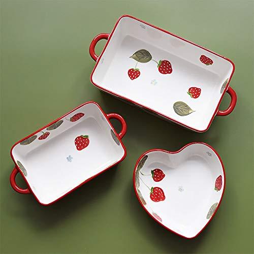 Bakeware 3-teiliges Set aus Keramik Erdbeeren Binaural Rechteckige Backblech gebacken Haushalt Schüssel Pasta Gebackene...