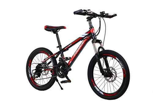 Homeland Hardware 24 Inch Black & Red Adult Mountain Bike, Aluminum, 21-Speed Shimano Transmission with Suspension, Dual Disc Brakes