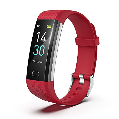 HTSHOP Rastreador De Fitness S5, Pulsera De Medición De Temperatura Inteligente, Ritmo Cardíaco Y Monitoreo De La Presión Arterial Monitoreo Inteligente, Podómetro, Ip68 Impermeable(Color:Rojo)