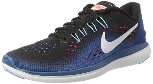 Nike Womens Flex 2017 RN Running Shoe Black/White/Industrial Blue/Racer Pink 6 B(M) US
