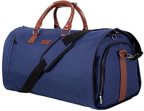 Prestige Wochenendtasche und Kleidersack 2in1 55 L - Modell für 2020 | Bedrucktes Futter, Laptopfach, Metall-Reißverschlüsse, Geschenkbox + Bonus | Anzugs- und Reisetasche für Herren (Marineblau)
