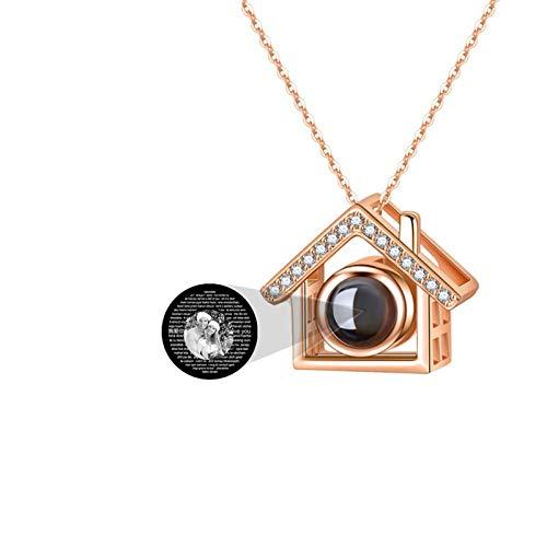 Collar de foto personalizado personalizado 100 idiomas diferentes TE AMO Collar Collar de proyección Colgante de casa(Oro rosa Blanco y negro 18)
