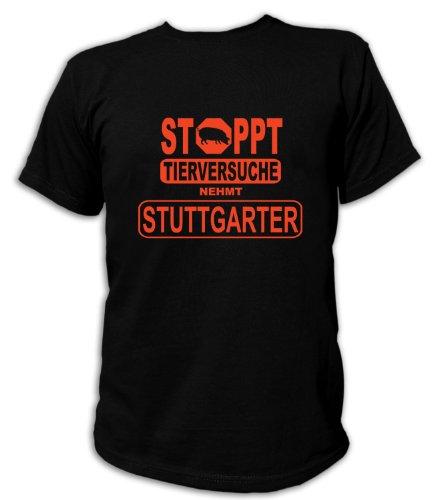 Artdiktat Herren T-Shirt - Stoppt Tierversuche - Nehmt Stuttgarter, Größe L, schwarz