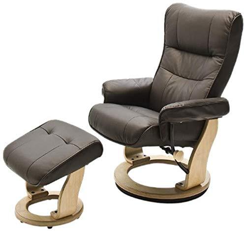 Robas Lund Sessel Relaxsessel mit Hocker Leder, TV Sessel Belastbarkeit bis 130 Kg, Braun