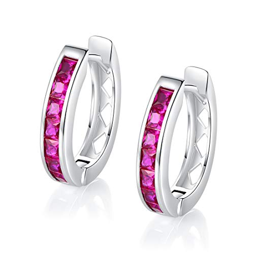 18k White Gold Plated Created Ruby Huggie Hoop Earrings for Women