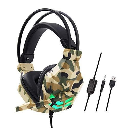 MGWA Auriculares para videojuegos con cable de camuflaje, auriculares para videojuegos, auriculares estéreo de 3,5 mm, para N-Switch (color amarillo)