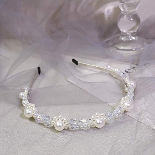 Accessoires pour cheveux Tissé à la main vintage exquis cristal perle cheveux cerceau ornement de cheveux coiffe cheveux cerceau-blanc