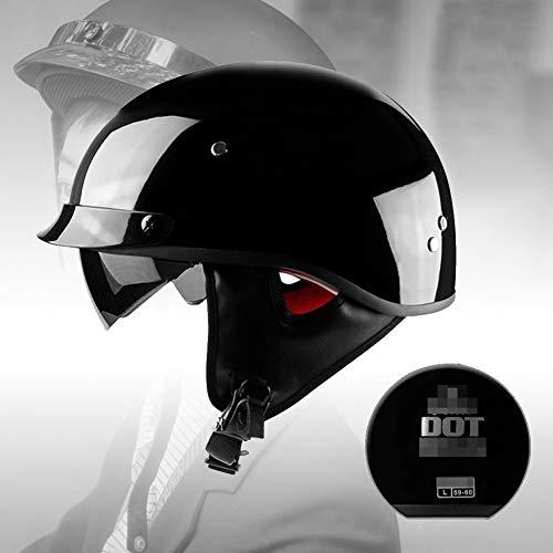 Casco Medio Abierto Casco Cara Abierta Motocicleta Retro con Visera Solar Interna Moto Motocross Racing Tapas Protección Seguridad Aprobadas Dot/ECE para Unisex(M-XXL, 57-64CM)