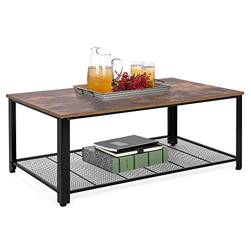 Best Choice Products 42in Rustic Industrial 2-Tier Coffee Table, Living Room Furniture w/Wood Finish Top, Metal Frame