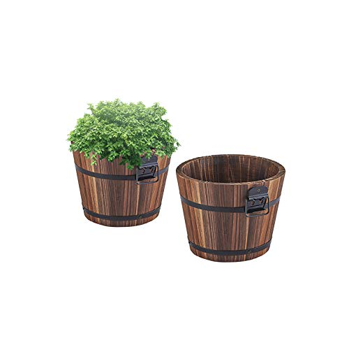 Small Wooden Bucket Barrel Planters – 5.5'' Rustic Flower Planters Pots Boxes Container with Drainage Holes for Indoor Home Decor Small Plants, Brown Set of 2