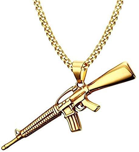 ZPPYMXGZ Co.,ltd Collar de Moda para Hombre, Collares, Color Dorado, Ak-47, Pistola de Asalto, Rifle, Helado, Colgante, Collar, Acero Inoxidable, Bicicleta, joyería de Moda Militar