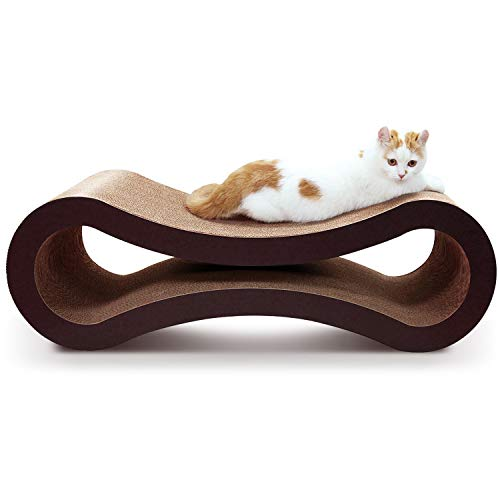 ScratchMe Cat Scratching Post Lounge Bed, Cat Scratcher Cardboard with Catnip, Recycle Corrugated Scratching Pads to Sharpen Claws Pet, 32x10.5x10.5
