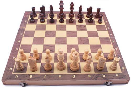 Staunton Chess Juego de ajedrez de madera para niños y adultos, juego de ajedrez Staunton de 12 x 12, juegos de tablero de ajedrez plegables, almacenamiento para piezas de madera, para niños y adultos