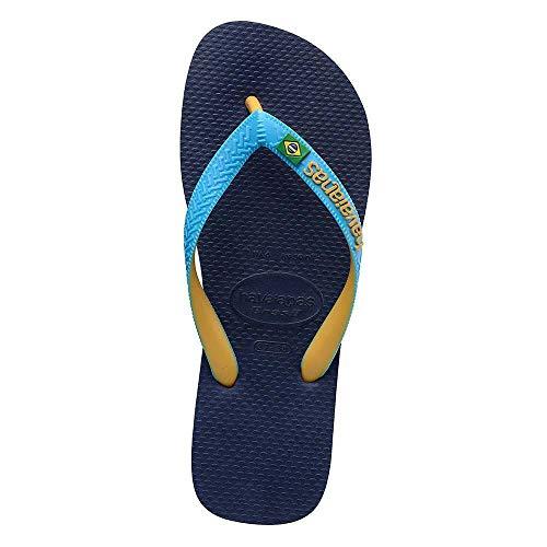 Havaianas Brasil Mix, Flip-Flop Unisex-Adulto, Navu Blue Turquoise Burned Yellow, 43/44 EU