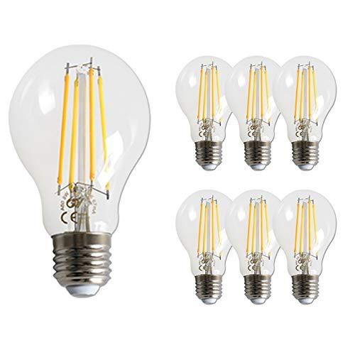 GY Bombilla LED Edison vintage, 8W, equivalente a 80W, 850 lúmenes, blanco cálido 2700K de alto brillo, bombilla de filamento LED antiguo ST64 (Bombilla esférica 8W, 2700K)