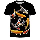T-Shirt Camiseta de Pescado 3D para Hombre, Camiseta de Hip Hop, Camiseta con Estampado Tropical de Pescador, Camisetas Divertidas, Ropa de Verano para Hombre con Animales de Fishinger-4XL