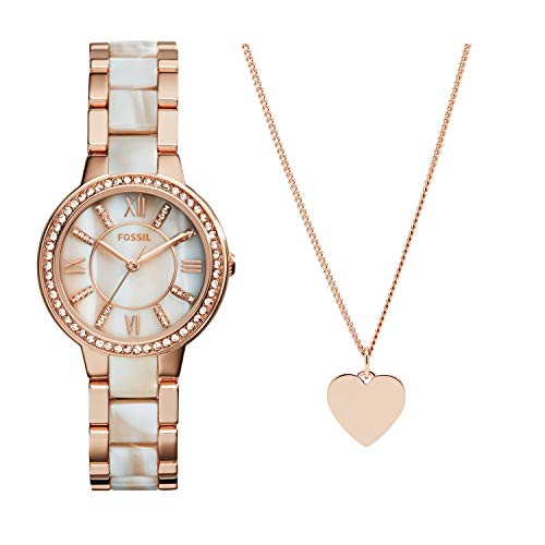 Fossil Women's Virginia Quartz Stainless Steel Dress Quartz Watch and Womens Engravable Heart Necklace
