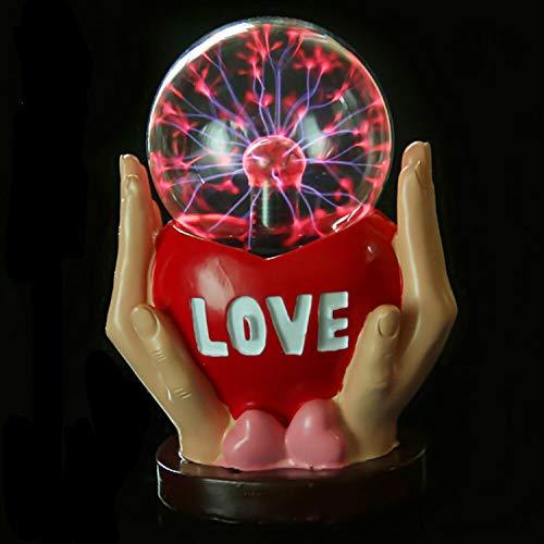 QIANMEI Plasmakugel Liebesthema Hauptdekoration Neuheit Tischlampe Plasma-Kugel Blitzkugel Magische Kristallkugel der Induktion EIN kleines Geschenk for EIN Paar