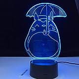 Lámpara De Ilusión 3D Luz De Noche Led Totoro Mi Vecino Para La Luz Del Dormitorio Del Bebé Lámpara De Noche De Regalo Para Niños Totoro Umbrella Pretty Kids Nightlight