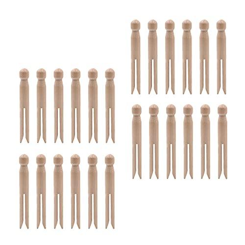 24 clips de madera natural de color suave para muñecas de alta calidad con buena forma para el hogar y el exterior.