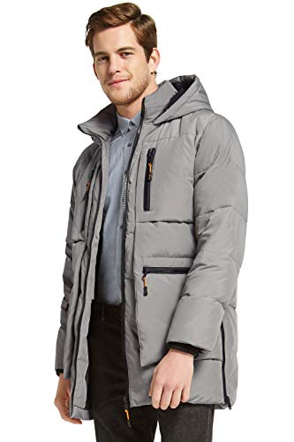 Orolay Men's Thickened Down Jacket Hooded Winter Coats with 6 Pockets Grey XL