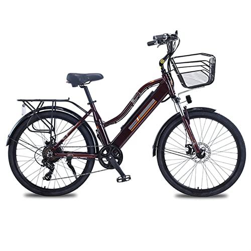 HMEI Bicicleta eléctrica de montaña para Mujer con Cesta 36V 350W Bicicleta eléctrica de 26 Pulgadas Bicicleta eléctrica de aleación de Aluminio (Color : Marrón, Number of speeds : 7)