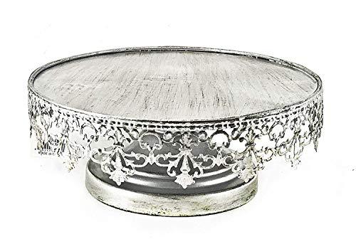 Bellaa 20751 Metal Cake Stand Delicate Silver Vintage Design 10 Inch