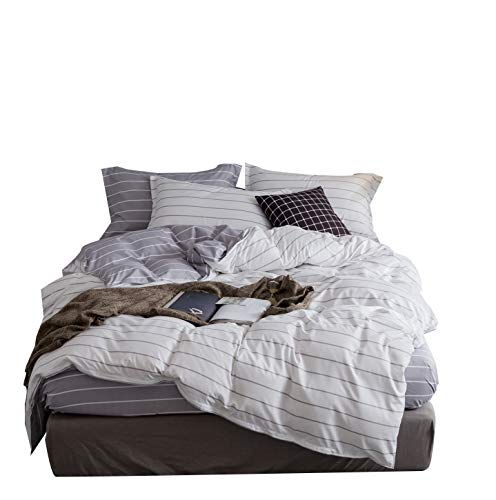 ZHIMIAN Bedding Reversible 3 Piece Striped Print Duvet Cover Set with Zipper Closure(1 Duvet Cover + 2 Pillow Shams)(King,White With Lightgrey)