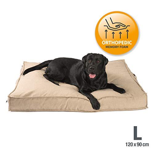 JAMAXX Premium Hundekissen in edler Leinen-Optik/Orthopädisch Memory Visco Schaumstoff/Waschbar Abnehmbarer Bezug/Wasserabweisender Innenbezug - Hundebett PDB1005 (L) 120x90 Coffee-beige