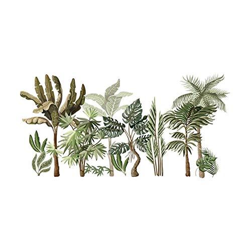 AnnQing Tropical Plants Wandaufkleber für Wohnzimmer Schlafzimmer Fußleiste Wanddekoration Vinyl Wandtattoos Abnehmbare Kunst Wandbild Home Decoration 100x50cm