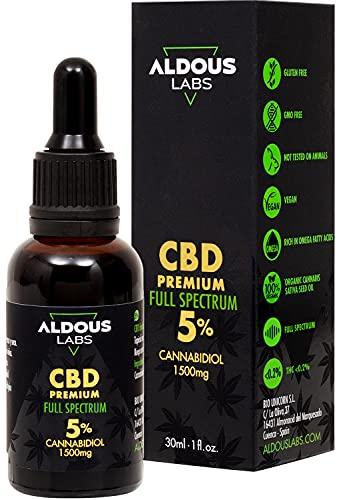 Auténtico CBD Oil 5% | Full Spectrum | Aceite de Cáñamo Bio enriquecido con 5% CBD | 30ml - 1200 gotas Aceite CBD Premium | Hemp Oil con 1500mg de Cannabidiol | Espectro Completo