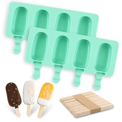 Moldes Helados Silicona,Ice Cream Mold,2 pcs Ovalado Ice Lolly Moulds,4 Cavidades- Moldes Paletas+100 Palos Madera,Antiadherente Fabricante Polos Hielo de Bricolaje,para Helados Chocolate Gelatina
