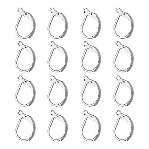 NBEADS 100 Pcs Lever Back Earrings, Stainless Steel Open Loop Leverback Hoops, French Hook Ear Wire for Earring Making