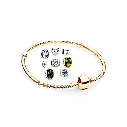 Ensemble de breloques pour bracelet avec breloques Pandora - Pour femme - Chaîne - Pendentif étoile - Cadeau idéal - Jaune - 20
