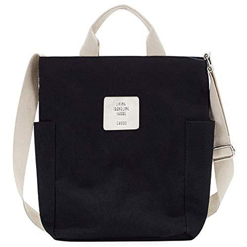 Gindoly Casual Handtasche Damen Canvas Chic Schultertasche Damen Henkeltasche Schulrucksack Große umhängetasche Tasche schwarz