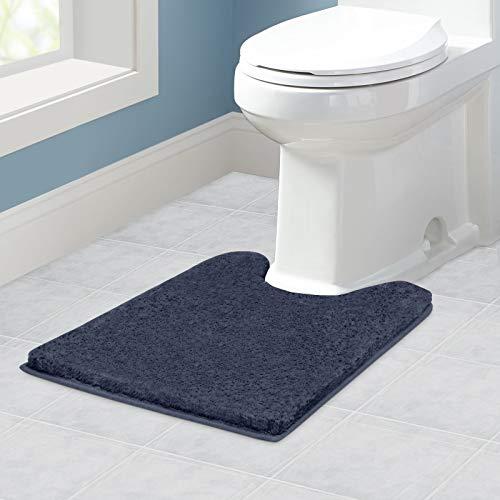 VANZAVANZU WC Vorleger mit Ausschnitt rutschfest WC Teppich Verdickt Klovorleger Weich Stand WC-Vorleger Flauschige Mikrofaser Toilette Badteppich - 50 x 60cm (Marineblau)