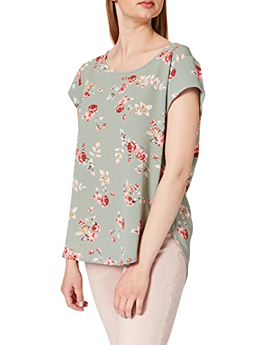 ONLY Damen ONLVIC SS AOP TOP NOOS WVN Bluse, Chinois Green/AOP:RED Roses, 40