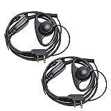 HYS Auriculares Walkie Talkie de 2 pines en forma de D con micrófono PTT para Baofeng BF-888S UV-5R Kenwood (paquete de 2)