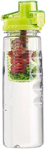 Rosenstein & Söhne Getränkeflaschen: Tritan-Trinkflasche mit Fruchtbehälter, BPA-frei, 800 ml, grün (Fitness- & Sport Wasser Flasche)