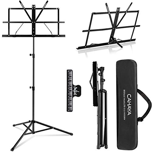 CAHAYA 2 in 1 Dual Use Folding Sheet Music Stand & Desktop Book Stand Lightweight Portable Adjustable with Carrying Bag, Metal Music Sheet Stand with Music Sheet Clip Holder
