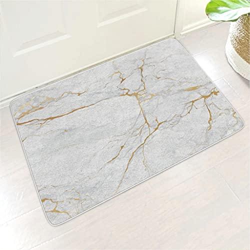Veryday Felpudo con textura de mármol, felpudo de entrada de goma, felpudo para puerta interior y exterior, color blanco, 45 x 75 cm