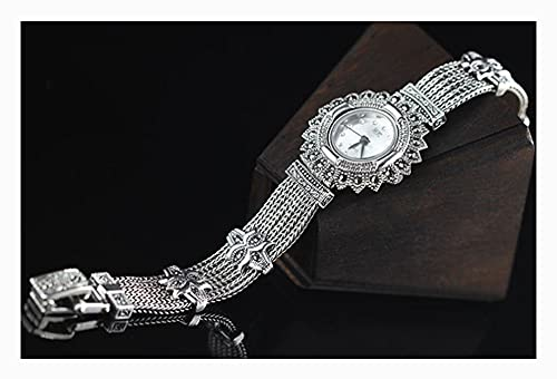 CHXISHOP Reloj de Pulsera de Mujer 925 Joyería de Plata esterlina Retro Dial Redondo Reloj a Prueba de Agua Reloj de Cadena de Moda clásica White- L